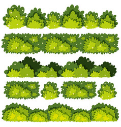 Five different patterns of green bushes vector