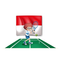 Flag of indonesia at the back of a tennis vector