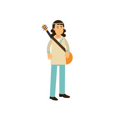 Flat cartoon man hippie with guitar carefree male vector