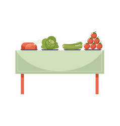 Fresh organic meal on dinner table isolated on vector