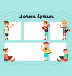 fun frames kids layout texting brochure vector image