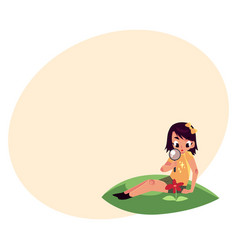 Girl sitting on grass and studying flower through vector