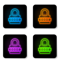 glowing neon password protection and safety vector image
