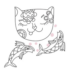 Hand drawn doodle outline cat vector