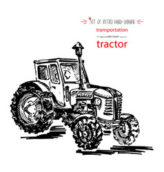 Hand-drawn vintage transport tractor quick ink vector