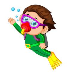 Happy boy diving vector