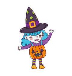 Happy girl with pumpkin costume and witch hat vector