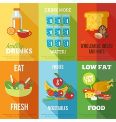 Healthy eating poster set vector image