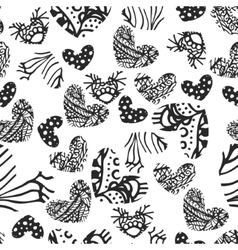 Ink zentangle heart seamless pattern vector image