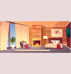 interior of hotel bedroom winter resort vector image