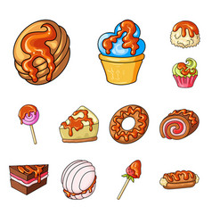 isolated object of dessert and sweet logo vector image