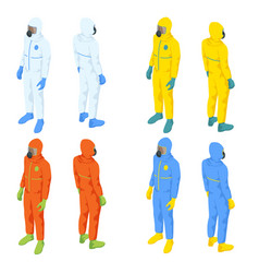 isometric people in medical bio suits biological vector image