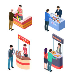 isometric tasting food and drinks at promotional vector image
