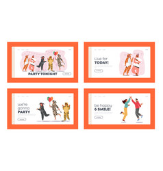 kigurumi pajama party landing page template set vector image