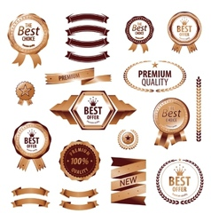 Luxury golden premium quality best choice labels vector image