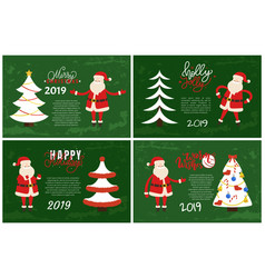 merry christmas and holly jolly set of postcards vector image