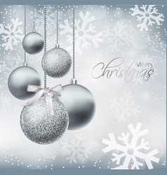 merry christmas card with silver baubles vector image