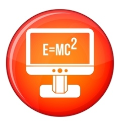 Monitor with Einstein formula icon flat style vector