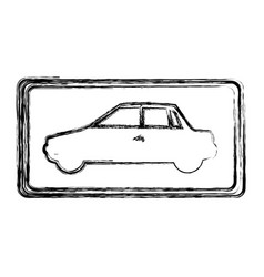 monochrome sketch with automobile side view in vector image