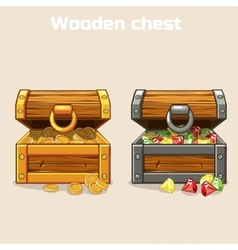 opened treasure chest with coins and diamonds vector image
