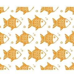 Orange grunge fishes seamless pattern vector image
