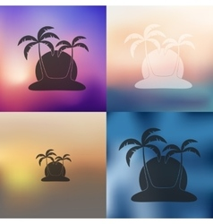 Palm icon on blurred background vector