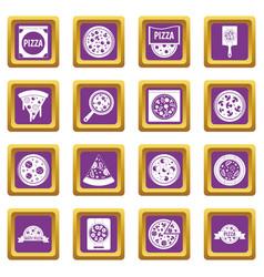 pizza icons set purple vector image