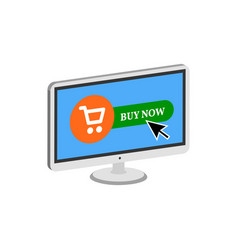pressing buy button on display online commerce vector image