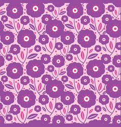 purple folk flowers texture pattern vector image