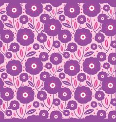 Purple folk flowers texture pattern vector