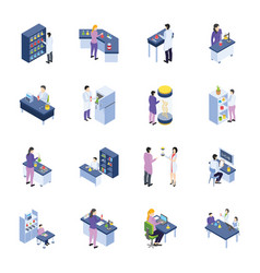 Research laboratory isometric icons pack vector