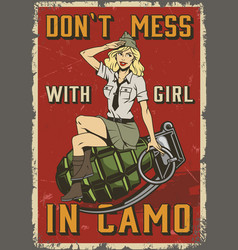 retro military colorful poster vector image