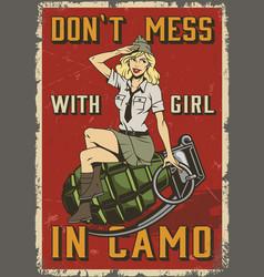 Retro military colorful poster vector