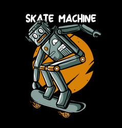 Retro robot skateboarding vector