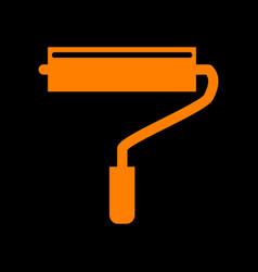 roller sign orange icon on black vector image