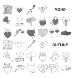 Romantic relationship monochrom icons in set vector