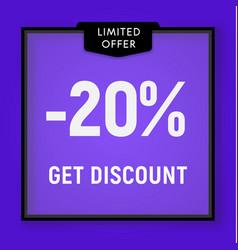Sale 20 percent off get discount website button vector