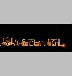 Samarkand light streak skyline vector