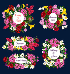 Save the date floral icons for wedding invitation vector
