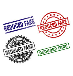 Scratched textured reduced fare stamp seals vector