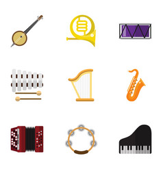Set of 9 editable mp3 flat icons includes symbols vector