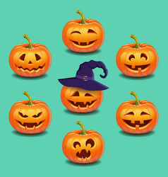 set of bright colorful halloween pumpkins face vector image