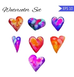Set of Watercolor painted red heart vector image