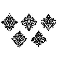 Set vintage floral patterns and embellishments vector