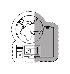 Sticker silhouette desktop computer global hosting vector