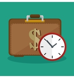 Suitcase money clock safety icon vector