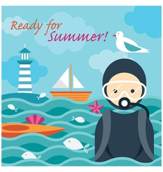 Summer Sea Diver in the Sea vector