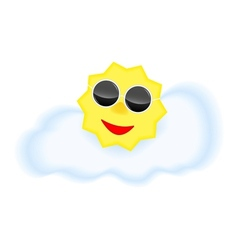 Sun with sun glasses on cloud vector image