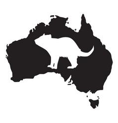 tasmanian devil white silhouette vector image