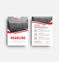 template of a white flyer with red and gray vector image